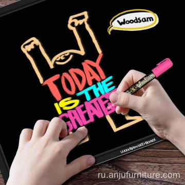 "LED Drawing Painting Board 24"" x 16"" Erasable Non Porous Glass Surface Blackboard with 8 Markers"